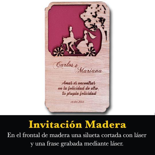 Invitación Madera Laser