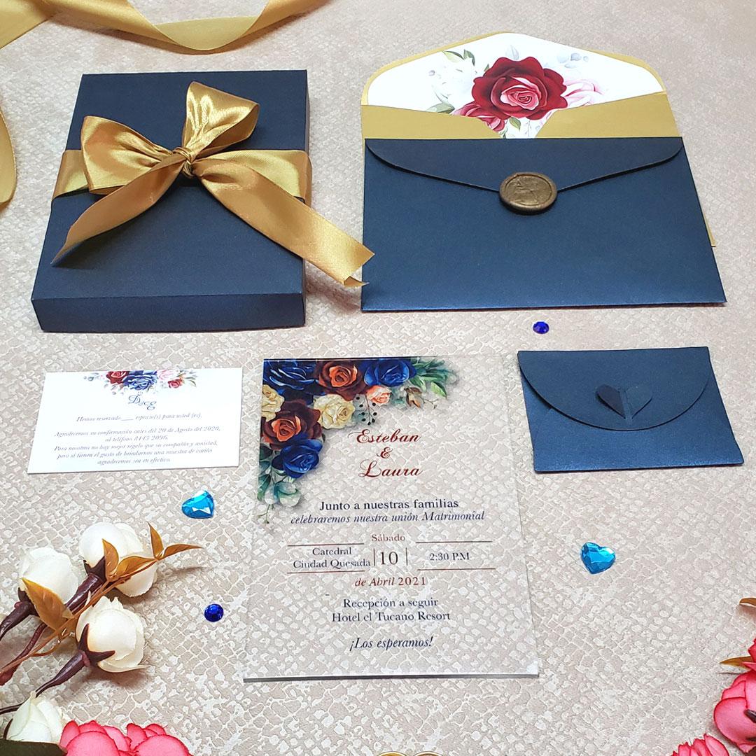 Invitación de Bodas Acrilic Colors 04E