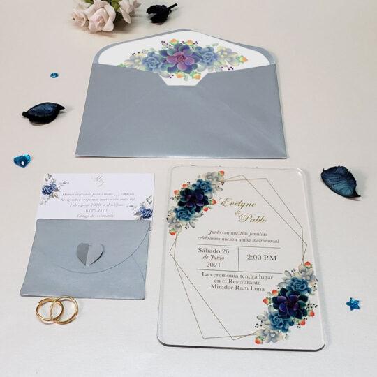Invitación de Bodas Acrilic Colors 15A